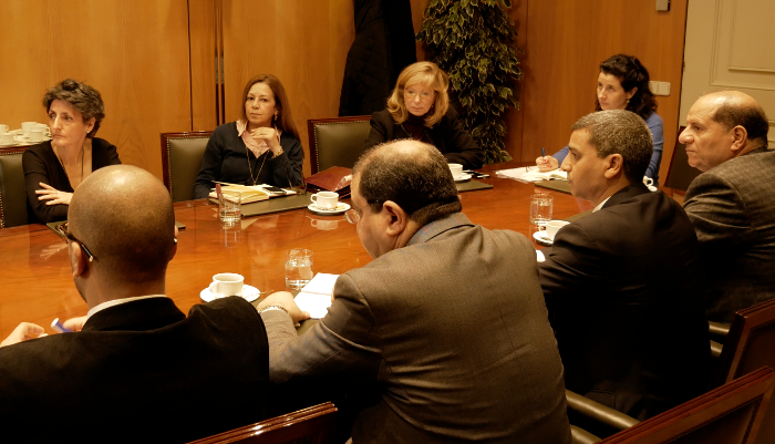 Inmaculada Aguado in a meeting in Spain with representatives of the Tunisian Ministry of Justice
